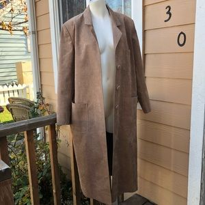 Vintage tan suede trench coat like new